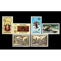 1976 Sellos de Andorra (Correo Español). Año Completo **