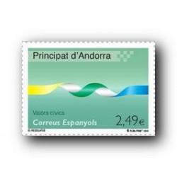 2010 Sellos Andorra Español. (Edifil 378). Valores Cívicos **
