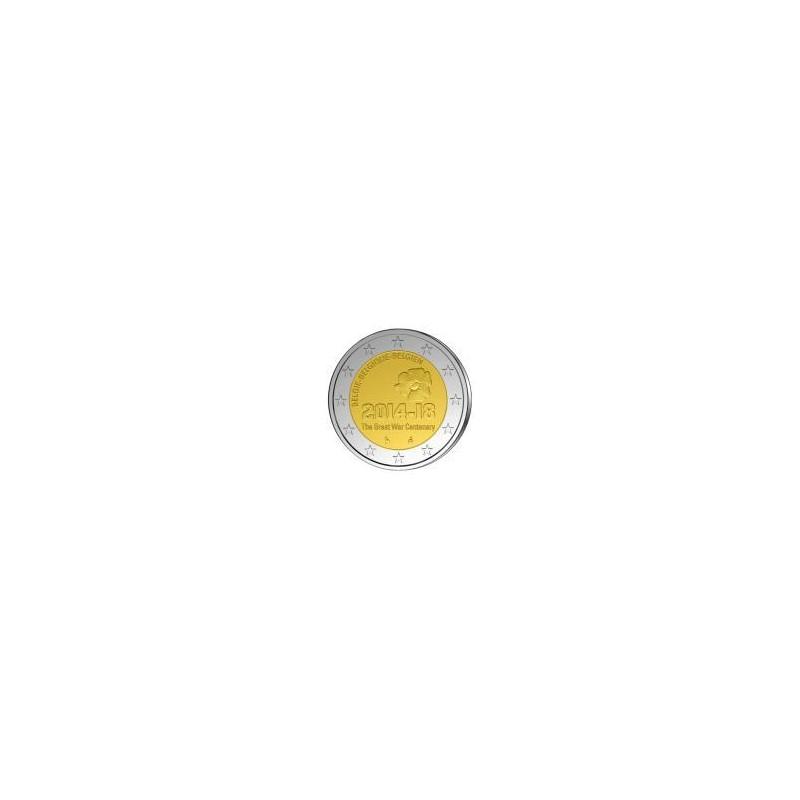 Moneda 2 euros conmemorativa. Belgica 2014 I Guerra Mundial
