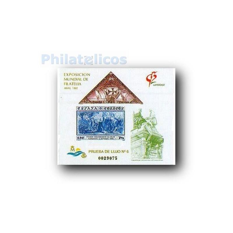 1992 Prueba Lujo 6. Exposición Mundial de Filatelia. Granada