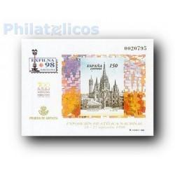 1998 Prueba Oficial. Exposición Filatélica Nacional. Exfilna´98