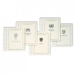 Hojas Leuchtturm para álbumes de sellos (en blanco con título del país)