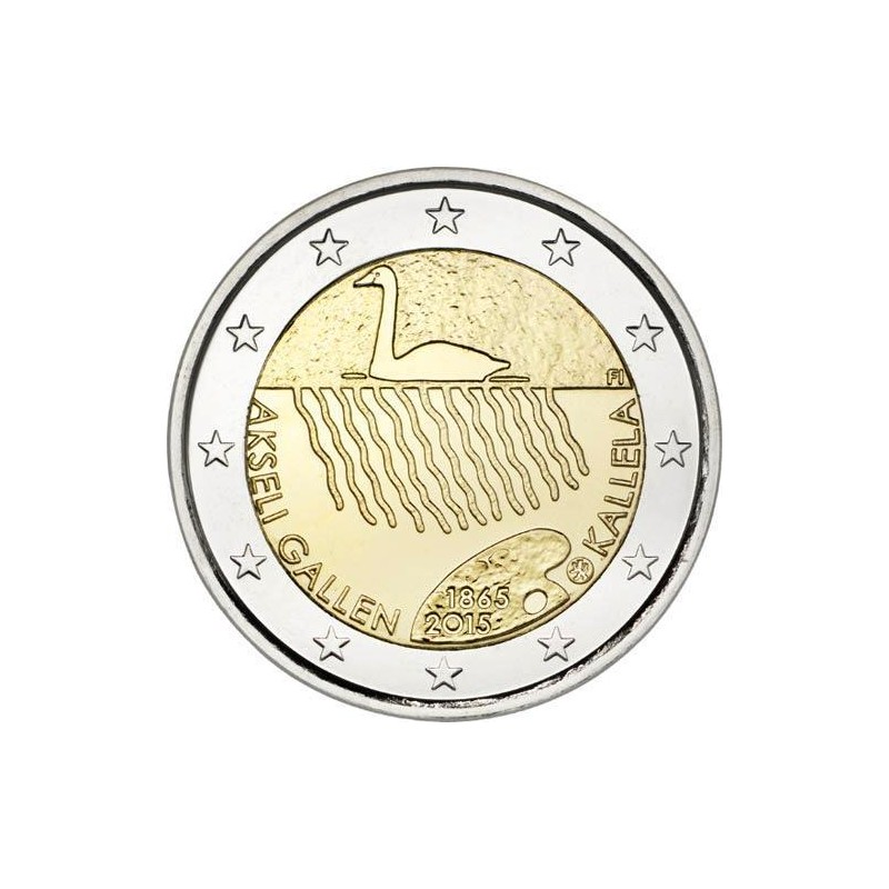 Moneda 2 euros conmemorativa. Finlandia 2015 Jean Sibelius