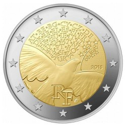 Moneda 2 euros conmemorativa Francia 2015 70 Años de Paz
