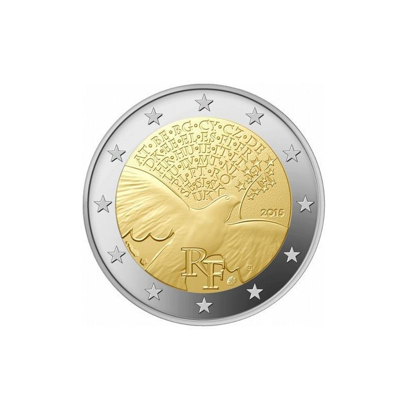 Moneda 2 euros conmemorativa. Francia 2014 Contra el SIDA
