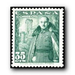 1948 Sellos de España (1025). General Franco y Castillo de la Mota